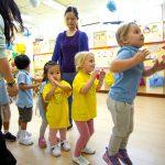 Kindergarten children in a line by height