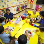 Kindergarten children in classroom sitting around yellow table