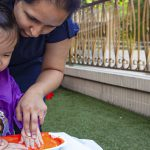 Kindergarten playgroup hand painting
